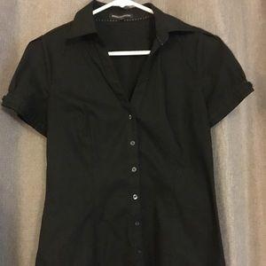 Black express short sleeve button up